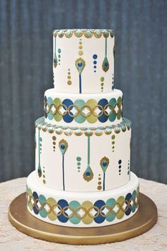 Peacock Party or Wedding Cake by Fleur de Lisa (I love that this is peacock but not over-the-top peacock.) .........  #wedding #cake #birthday #party