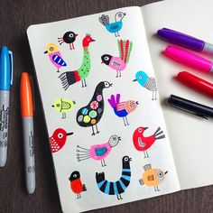 My doodle warm-up of the day: #birds! #illustration #sketchbook