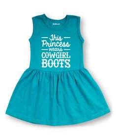 Look what I found on #zulily! Aqua 'Wears Cowgirl Boots' Sleeveless Dress - Toddler & Girls by Rodeo Rags #zulilyfinds