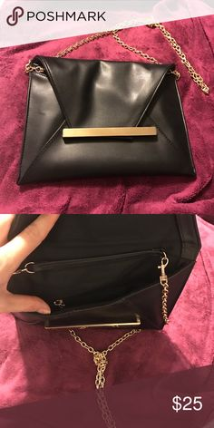 Black leather purse with gold chain Black leather purse with gold accents Bags Mini Bags