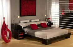 idee chambre zen au theme rouge avec des vases de style modernistique rouge