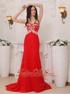 Red Column Sweetheart Brush Train Chiffon Appliques Prom / Pageant Dress- $136.69  www.fashionos.com  | fashionable and elegant | night club prom evening evening dress | shakiras formal attire | new style cute beauty contest dresses for girls | wendy williams dress | theiconic prom dress |