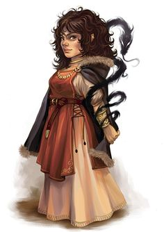 Female dwarf mage with long curly brown hair, wearing a dress and cloak, with a shadowy serpent pet. Master Specialist From Complete Mage by Eva Widermann. Copyright Wizards of the Coast, 2006.