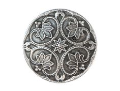 2 Round Renaissance 1  1/8 inch  28 mm  Pewter by ButtonJones, $4.00