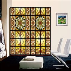 Stained Glass Window Film Material Adhesive PVC Dimensions - Stained glass window stickers amazon