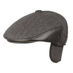 Men Flat Beret Cap Winter Leather Thick Newsboy Earflap Grid Blank Cowboy Cabbie Hat - Gchoic.com