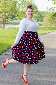 Plus Size Maxi Skirt Navy Red and White by aconversationpiece