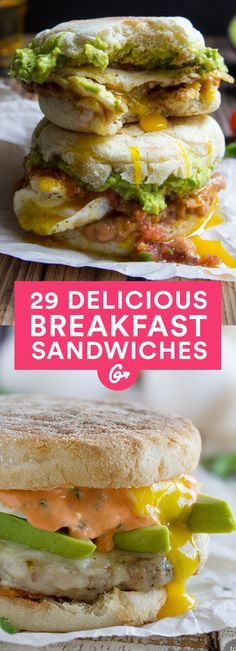 27 Breakfast Sandwiches That Cure a Hangover With Less Grease - Breakfast and Brunch Recipes - Sandwich Recipes Breakfast Sandwich Recipes, Healthy Breakfast Recipes, Brunch Recipes, Healthy Eating, Healthy Recipes, Sandwich Ideas, Clean Eating, Healthy Dinners, Vegetarian Breakfast