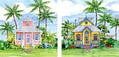Tropical Beach Cottage Paintings | Tropical Cottage Beach Decor Artwork, Paul Brent :: Canvas Art ...