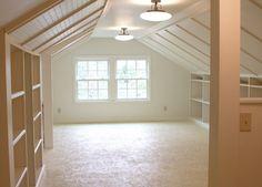 7 Fun Cool Tips: Attic Storage Clothes attic apartment sleeping nook.Attic Remodel Before And After attic living loft ladders. Attic Apartment, Attic Rooms, Attic Spaces, Attic Playroom, Attic Library, Studio Spaces, Apartment Therapy, Small Spaces, Garage Attic