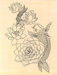 Japanese Fish Om Lotus Tattoo Drawing Art Print by GenieMelisande – Tattoo Sketches & Tattoo Drawings Fish Drawings, Tattoo Drawings, Art Drawings, Drawing Art, Tattoo Sketches, Tattoo Ink, Body Art Tattoos, Small Tattoos, Ankle Tattoos