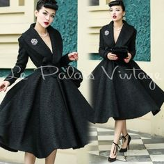 Le-Palais-Vintage-50s-60s-Turndown-Collar-Wool-Skirt-Coat-Designed-by-Winny
