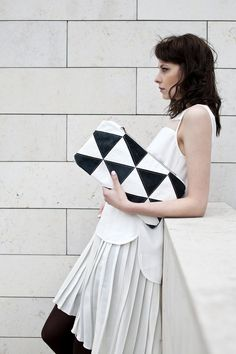 Contrast Triangles Pouch No. LH201 by CORIUMI on Etsy, $148.00