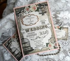Birdcage Wedding Invitation Suite, RSVP, Vintage, Shabby Chic, Handmade. $6.75, via Etsy.