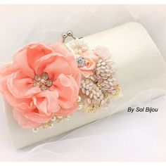 Clutch Wedding Bridal Handbag Purse Maid of Honor Coral Peach Ivory... ($130) ❤ liked on Polyvore featuring bags, handbags, clutches, accessories, bags & purses, light pink, weddings, white bridal purse, coral handbag and bridal purse