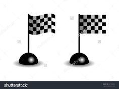 Wavingflag with checkered Black & White, motor sport element, Vector Illustration, isolated on white.