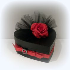Elegant Black Heart Shaped Box With Black Tule and Red Rose Top
