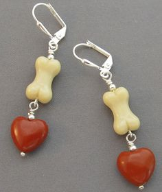 Dog Bone Earrings Red Jasper Hearts Silver Jewelry  at For Love of a Dog