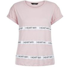 Teens Pink I Heart Wifi T-Shirt