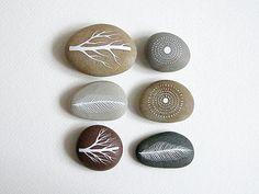Air et Terre 5 - Collection de 6 pierres peintes avec Nature inspirée des Designs - Natasha Newton
