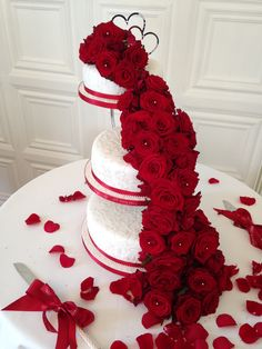 Red Rose Cascade On A Beautiful White Cake