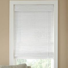 JCPenney Home™ Custom Bamboo Woven Wood Roman Shade (white) found at New Home Windows, House Windows, Bedroom Windows, Bedroom Curtains, Woven Wood Shades, Bamboo Shades, Bamboo Curtains, Curtains With Blinds, Transom Window Treatments