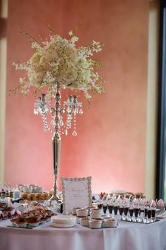 Marius & Christina - Bella Collina, Dessert Buffet by Two Sweets Bake Shop, Linen by Wildflower Linens, Floral by Lee Forrest Design, Stationery by Dogwood Blossom Stationery, Photography by Castaldo Studios