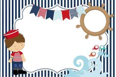 tarjeta de marinero Sailor Party, Diy And Crafts, Paper Crafts, Baby Shawer, Nautical Party, Sea Theme, Pirate Party, Baby Birthday, Baby Boy Shower