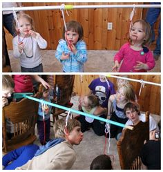 Liquorice Dangle- This game will be a crowd pleaser, the kids get a tasty snack while competing! Dangle shoe lace licorice from a pole. The team who can eat the licorice the fastest without using their hands, wins. Can also be done with doughnuts. Points earned according to the place finished.  Supplies- a long pole (a boom handle works fine), yarn, string licorice.