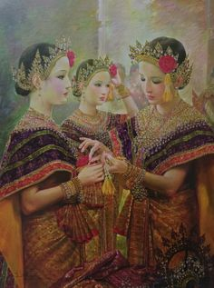"""Preparing flowers for a tiara"", 2008, oil on canvas, by a Thai national artist Chakrabhand Posayakrit"