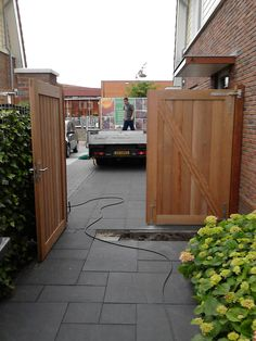 Side Yard Landscaping, Double Gate, Carpentry Projects, Wooden Gates, Entrance, Outdoor Structures, Fence Gates, Outdoor Decor, House