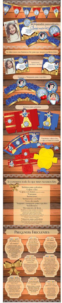 Kit Imprimible Personalizado Princesa Blancanieves Vintage - $ 150,00