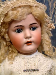 "35"" KAMMER & REINHARDT Antique Doll in Fabulous ANTIQUE DRESS c1900"