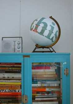 Kate Woodrow's painted globe.  Oh, how I love a mappish sphere that has been upgraded with paint!