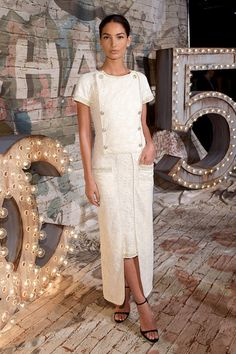 Lily Aldridge Chanel No. 5 event red carpet via @WhoWhatWear
