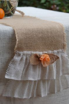 Lovely, Rustic, cottage chic burlap table runner