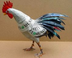 ideas for paper rooster Paper Mache Projects, Paper Mache Clay, Paper Mache Sculpture, Paper Mache Crafts, Bird Sculpture, Origami Paper, Diy Paper, Paper Art, Paper Birds