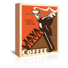 Americanflat Coffee Java Jeaves Vintage Advertisement on Wrapped Canvas Size: