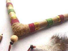 Adorned Tribal and Gold V-Shaped Tepi, Tepi Bamboo Pipe for Tobacco Snuff, Rapé. Tobacco Pipe for Rapeh, Shamanic Snuff.