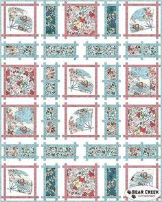 Kotori Fans Quilt Kit by Hoffman Fabrics