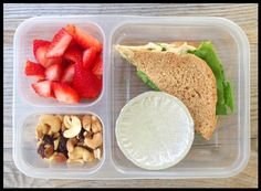 My kids got a pretty simple lunch today: Roasted garlic hummus/cheese/lettuce sandwich, applesauce (under the foil), strawberries, and trail mix.