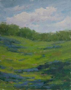 Artists Of Texas Contemporary Paintings and Art - Spring In Texas - An Original 10 x 8 Plein Air Landscape Oil Painting by George De Chiara