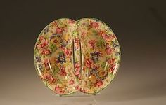 Myott China Divided Chintz Centre Handled Tidbit Tray Dish C 1930 | eBay
