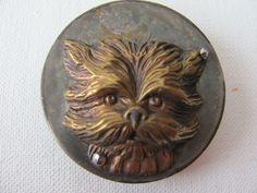ButtonArtMuseum.com - 1800's Persian Cat Head Stamped Brass Button