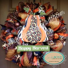 Leopard and Zebra Print Fall Deco Mesh Wreath by Jennifer Boyd Designs.  www.etsy.com/shop/JenniferBoydDesigns www.facebook.com/JenniferBoydDesigns