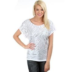 White Scattered Sequin Top - Beautiful for Day or Night - Now 64% Off! So classic! While Quantities Last: Clearance.co #women #fashion #tops #blouses