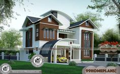 Two Story Contemporary House Plans & Indian Bungalow Designs And Floor Plans Simple Bungalow House Designs, Modern Bungalow House Design, Duplex House Design, Bungalow Homes, House Front Design, Small House Design, Plan Duplex, Duplex House Plans, Free House Plans