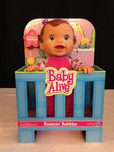 New Hasbro BABY ALIVE  Bouncin' Babbles Biracial Baby Girl Doll Brown Hair/ eyes #Hasbro