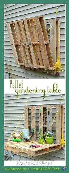 Pallet gardening table  Visit & Like our Facebook page: https://www.facebook.com/pages/Rustic-Farmhouse-Decor