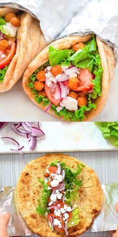 These Vegetarian Gyros make a quick and unbelievably tasty version of the popular Greek sandwich. Even meat-lovers will enjoy them! Meat Recipes, Cooking Recipes, Healthy Recipes, Recipes With Pita Bread, Sushi Roll Recipes, Amish Recipes, Dutch Recipes, Vegetarian Gyro Recipe, Vegetarian Greek Recipes